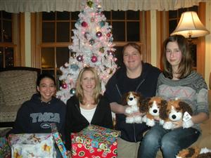 <br />Emily Cauthen, Elizabeth Sieger, Stacy Dayton, and Sierra Sieger after wrapping gifts